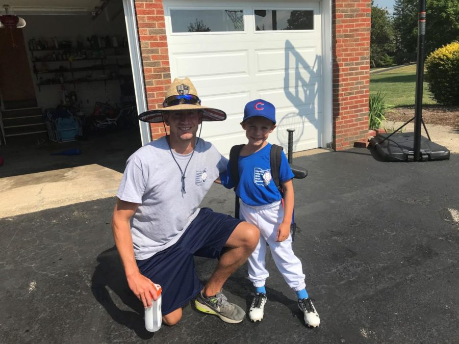 Play Ball!  Sal Grano and his son get ready to drive up to the ballpark.