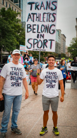"""Supporters of equality marched in Washington, D.C. in 2019.  Gretchen Zito, a member of the LGBTQ+ community, said about trans athletes, """"The notion that they cannot play because they are transgender implies that they are not real men and women which is simply not true. It can lead to death and many other issues because of this."""""""