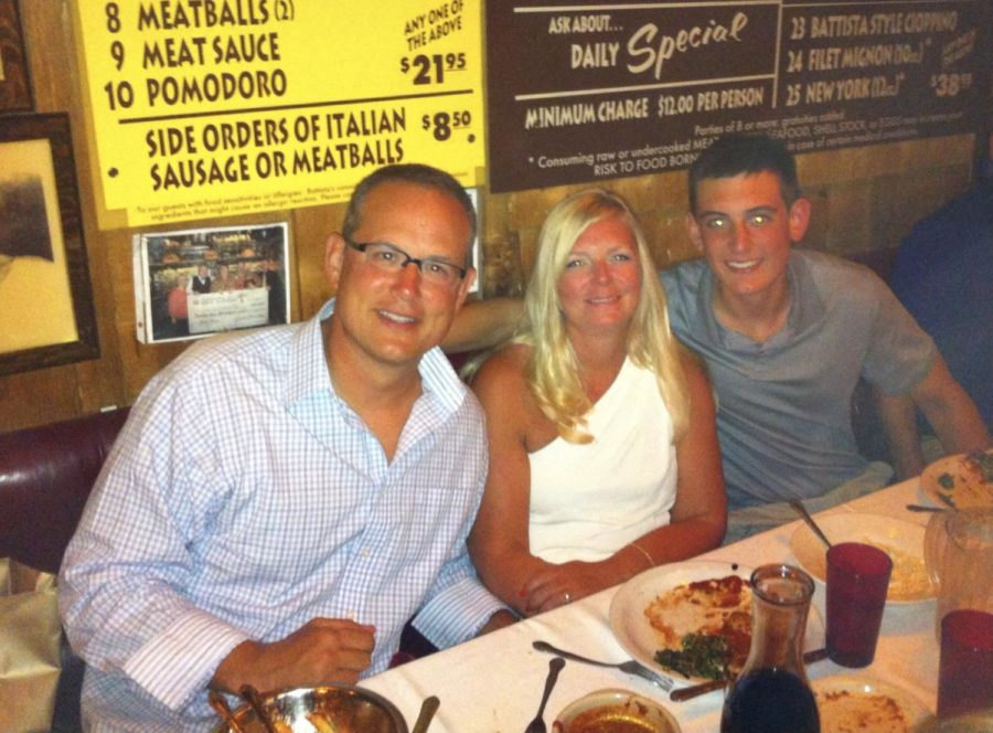 Health and physical education teacher Rebecca Finotti dines with her husband and son in Las Vegas.