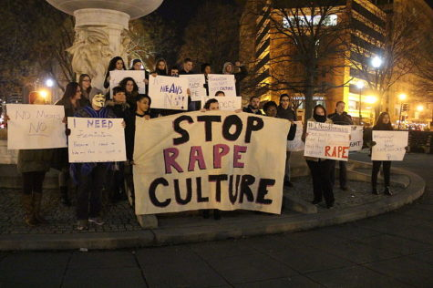 People protest against sexual assault at Dupont Circle in Washington, D.C.