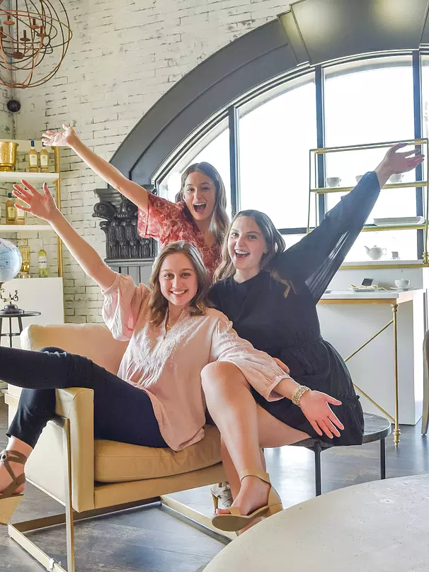 Mayfield graduates Shannon Biega (left), Chloey DiBartolo (center), and Alex Ruggieri (right) are organizing the first Woman Up Cleveland event next month.  DiBartolo said,