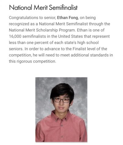 Mr. Legans weekly newsletter recognizes Ethan Fongs accomplishment.  Bill Selent has taught Fong the last two years and sees a promising future for Fong.  Selent said, Overall, I hope he just achieves happiness.