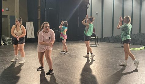 Senior members of the auxiliary team practice their senior night routine after school in the auditorium.
