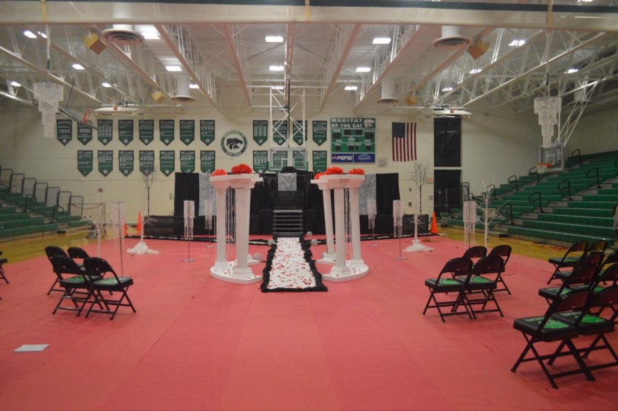 Members of the Sweet 16 worked last night to decorate the gym for todays assembly.