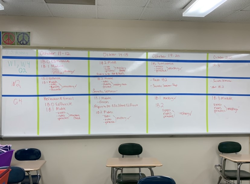 In Silvia Sheppards classroom, she utilizes the white board to write out the classwork and homework plans for each of her classes.
